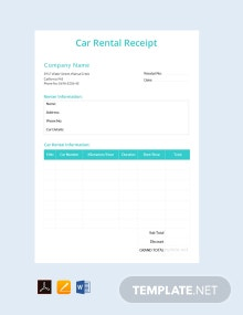 Free Simple Car Rental Receipt Template