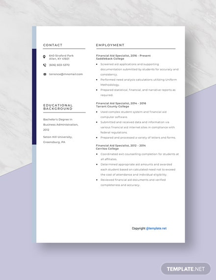 Financial Aid Specialist Resume Template