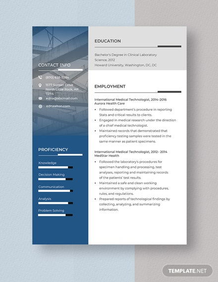 International Medical Technologist Resume Template Word Pages