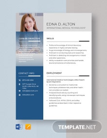 International Medical Technologist Resume Template