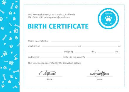 Free Pet Birth Certificate Template Download 200 Certificates In