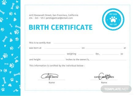 Great Puppy Birth Certificate Template Free Images Gallery Pet