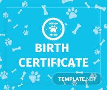 Free animal birth certificate template in psd ms word publisher free pet birth certificate template yelopaper Image collections