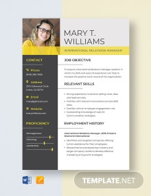 International Relations Manager Resume Template