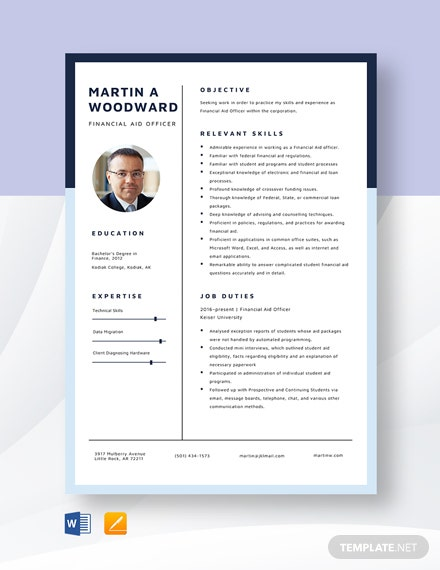 Financial Aid Officer Resume Template