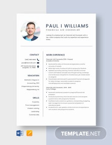 Financial Aid Counselor Resume Template