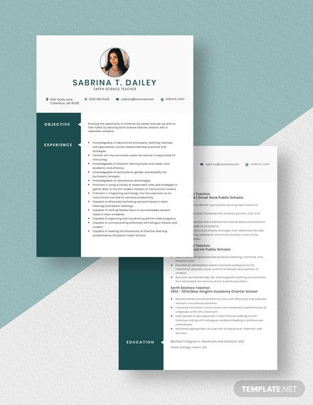 Earth Science Teacher Resume Download