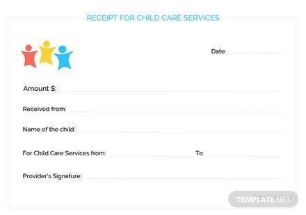 Child Care Services Receipt Template