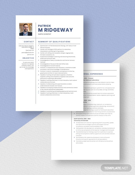 Earth Scientist Resume Download