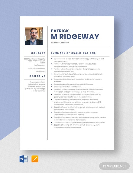 Earth Scientist Resume Template
