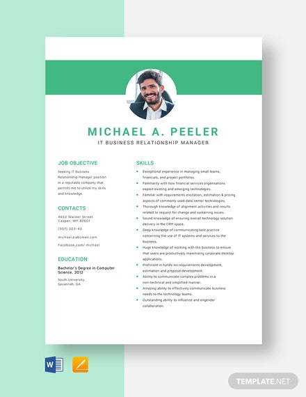 IT Business Relationship Manager Resume Template