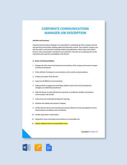 Free Corporate Communications Manager Job Description Template