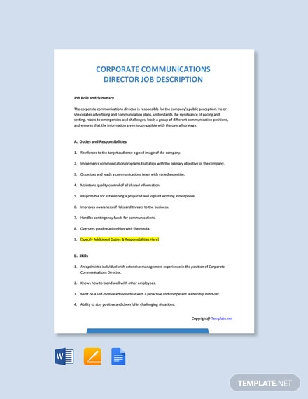 Free Corporate Communications Director Job Ad and Description Template