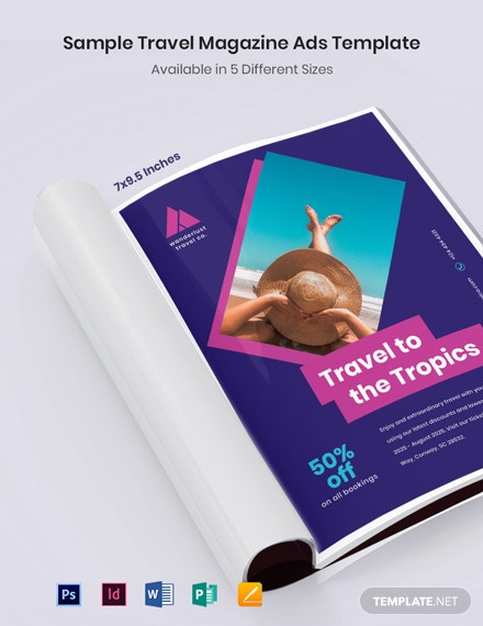 Free Sample Travel Magazine Ads Template