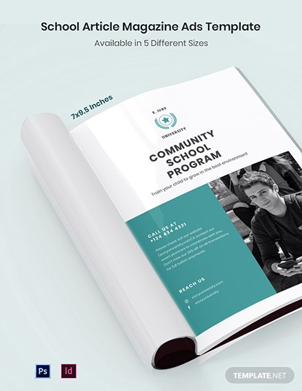 School Article Magazine Ads Template