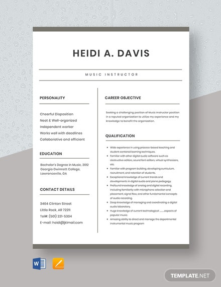 Music Instructor Resume Template