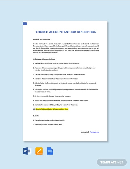 Free Church Accountant Job Ad/Description Template