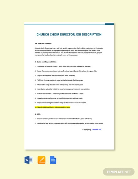 Free Church Choir Director Job Description Template