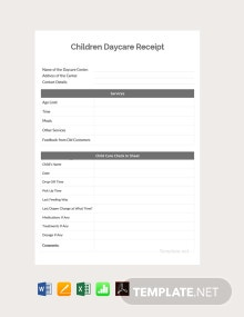 Free Children Daycare Receipt Template