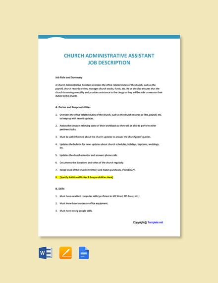 Free Church Administrative Assistant Job Ad/Description Template