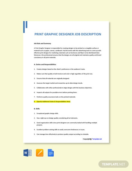 Free Print Graphic Designer Job Description Template