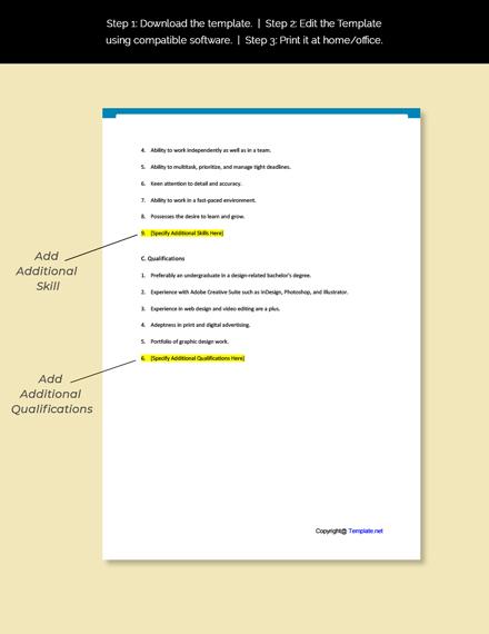 Graphic Design Intern Job Description Template
