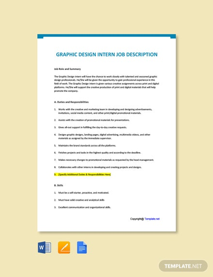 Free Graphic Design Intern Job Description Template