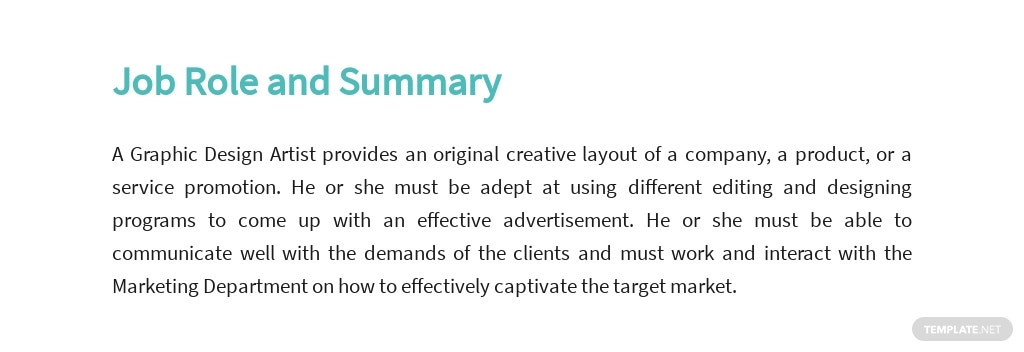 Free Graphic Design Artist Job Description Template 2.jpe