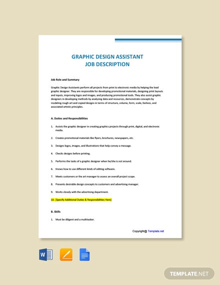 Free Graphic Design Assistant Job Description Word Google Doc Apple Mac Pages Template Net