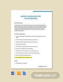 FREE Graphic Design Assistant Job Description Template