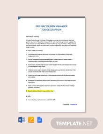 Free Graphic Design Manager Job Description Template