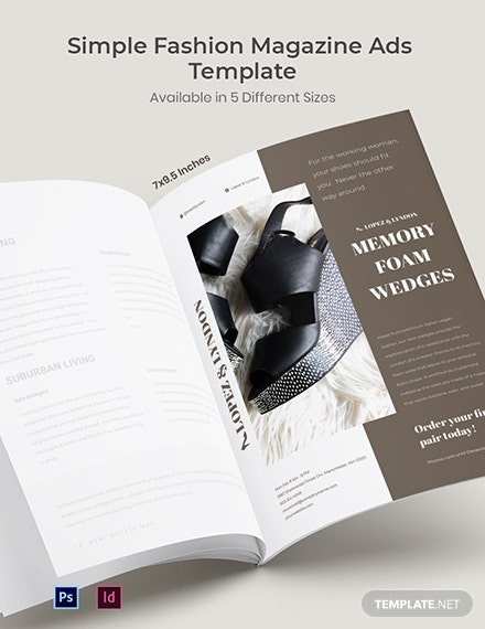 Simple Fashion Magazine Ads Template