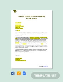 Free Graphic Design Project Manager Cover Letter Template