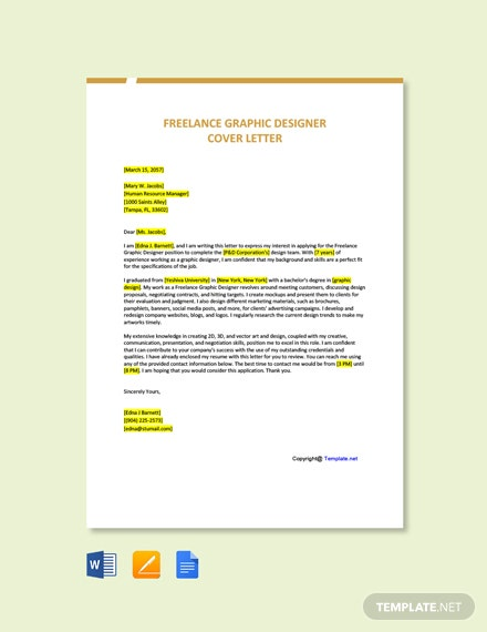 Free Freelance Graphic Designer Cover Letter Template