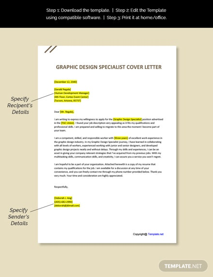 Graphic Design Specialist Cover Letter Template