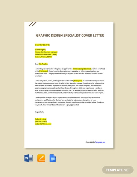Free Graphic Design Specialist Cover Letter Template