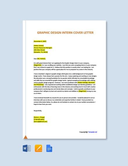 Free Graphic Design Intern Cover Letter Template