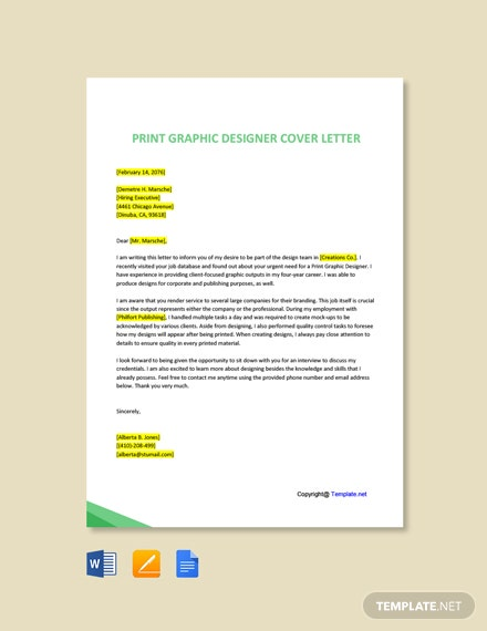 Free Print Graphic Designer Cover Letter Template