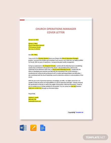 Free Church Operations Manager Cover Letter Template