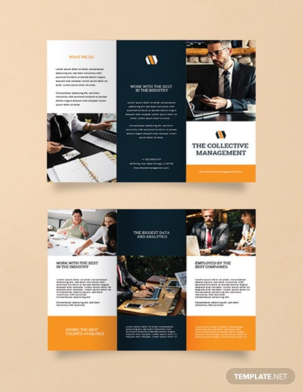 free blank trifold brochure template  download 326