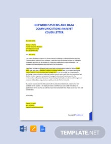 Free Network Systems and Data Communications Analyst Cover Letter Template
