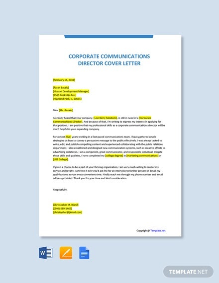 Free Corporate Communications Director Cover Letter Template