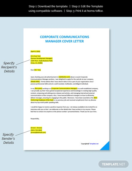Corporate Communications Manager Cover Letter Template