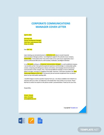 Free Corporate Communications Manager Cover Letter Template