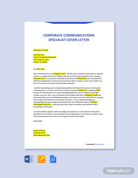 Free Corporate Communications Specialist Cover Letter Template