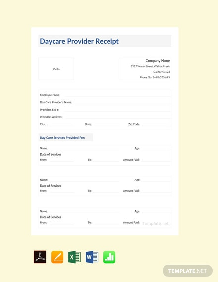 Free Daycare Provider Receipt Template