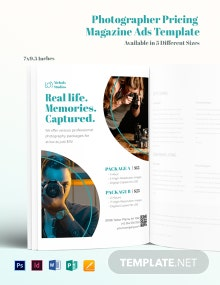 Free Photographer Pricing Magazine Ads Template
