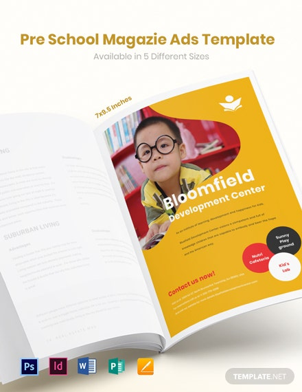 Free Preschool Magazine Ads Template