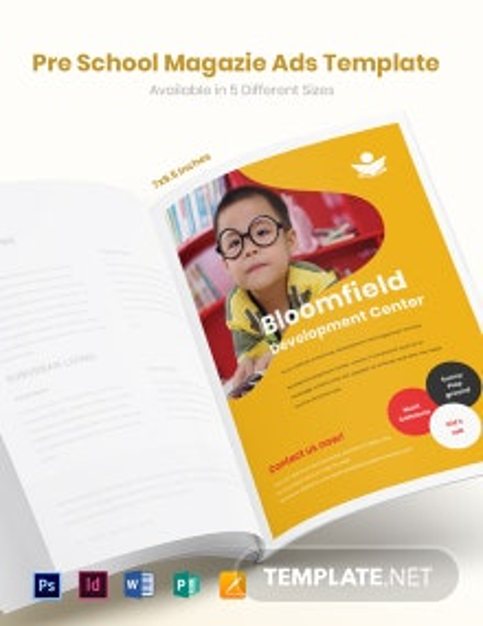 Preschool Magazine Ads Template