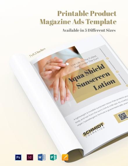 Printable Product Magazine Ads